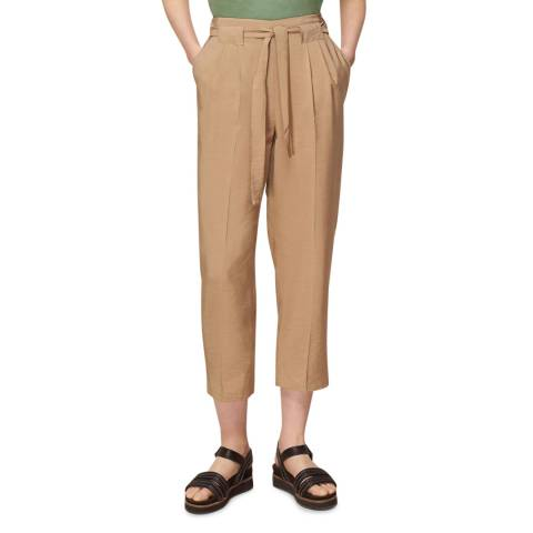 WHISTLES Stone Belted Casual Crop Trousers