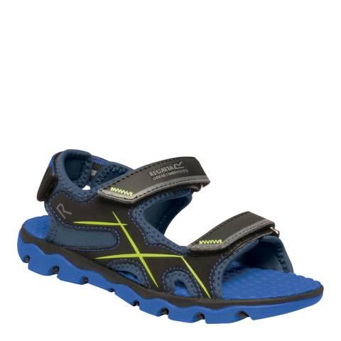 Regatta Boy's Nautical Blue & Electric Lime Kota Drift Sandals