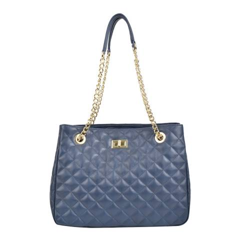 Isabella Rhea Navy Leather Shoulder Bag