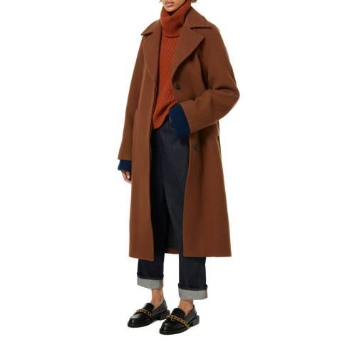 VICTORIA, VICTORIA BECKHAM Camel Oversized Teddy Wool Coat