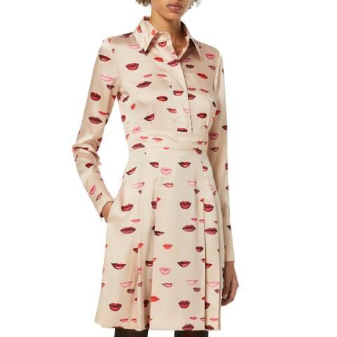 VICTORIA, VICTORIA BECKHAM Beige Lip Printed Twill Shirt Dress