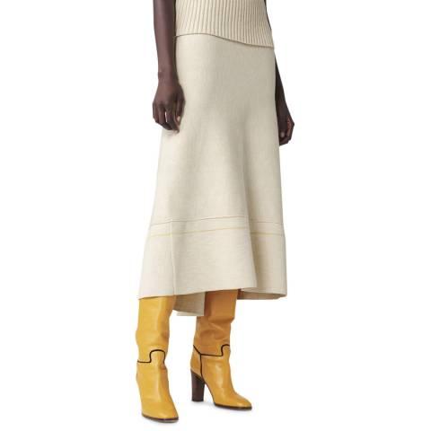 Victoria Beckham Biscuit/ Lemon Fit and Flare Cotton Blend Skirt