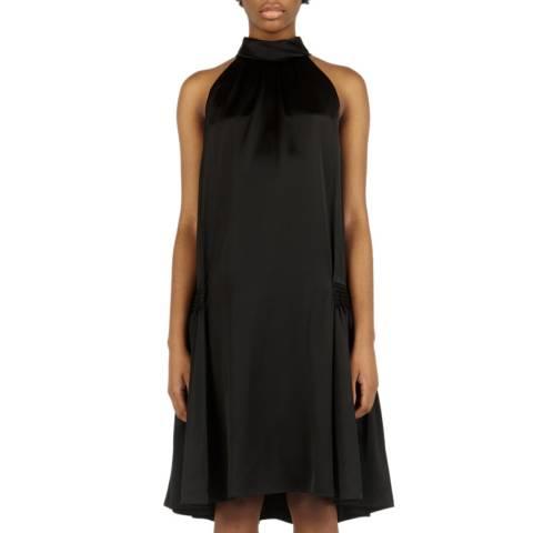 VICTORIA, VICTORIA BECKHAM Black Smocked Hip Dress