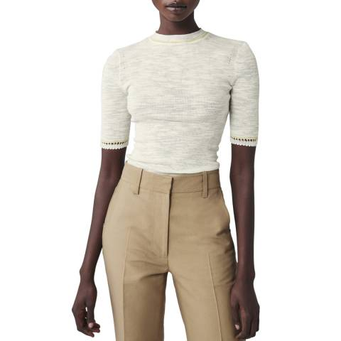 Victoria Beckham Ecru Lace Short Sleeve Cotton Top