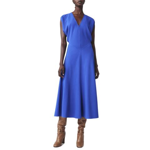 Victoria Beckham Blue Sleeveless V Neck Dolman Midi Dress