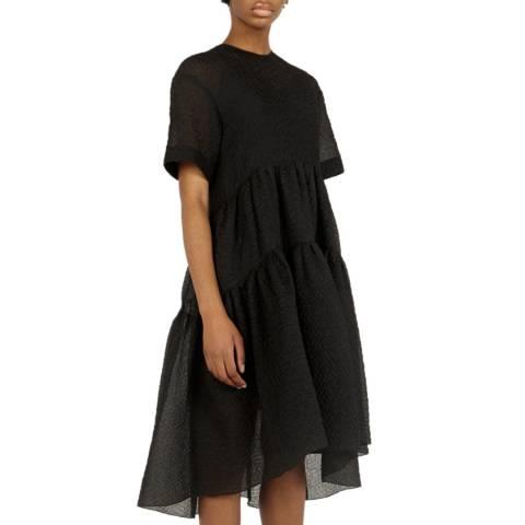 VICTORIA, VICTORIA BECKHAM Black Exagerated Cocoon Silk Blend Dress