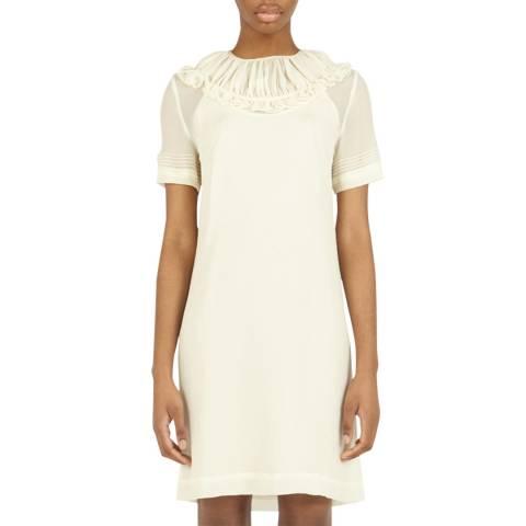 VICTORIA, VICTORIA BECKHAM Cream Pin Tuck Detail Dress