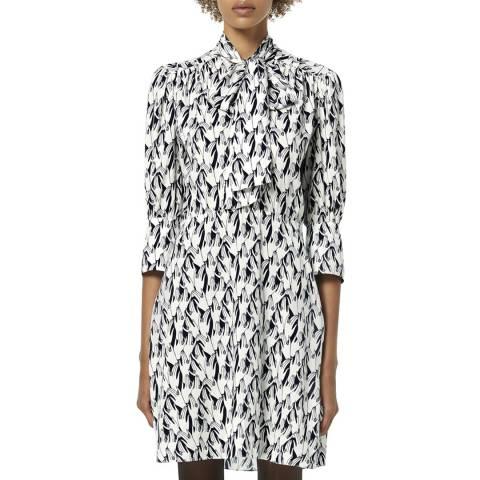 VICTORIA, VICTORIA BECKHAM Navy Scarf Neck Printed Twill Mini Dress