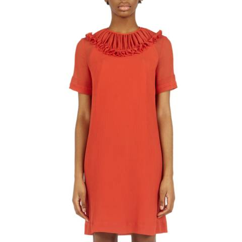 VICTORIA, VICTORIA BECKHAM Sunset Orange Pin Tuck Detail Dress