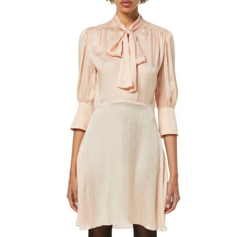 VICTORIA, VICTORIA BECKHAM Pink Scarf Neck Silk Jacquard Mini Dress