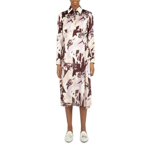 VICTORIA, VICTORIA BECKHAM Cabaret Multi Print Button Front Midi Dress