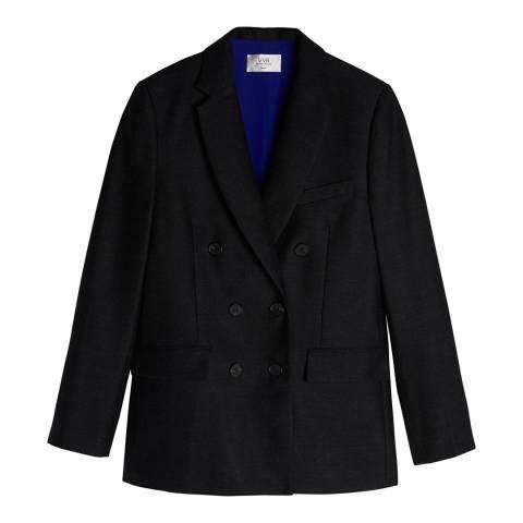 VICTORIA, VICTORIA BECKHAM Charcoal Button Detail Wool Flannel Jacket