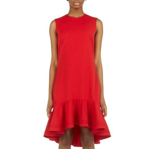 VICTORIA, VICTORIA BECKHAM Red Pintuck Flounce Hem Shift Dress