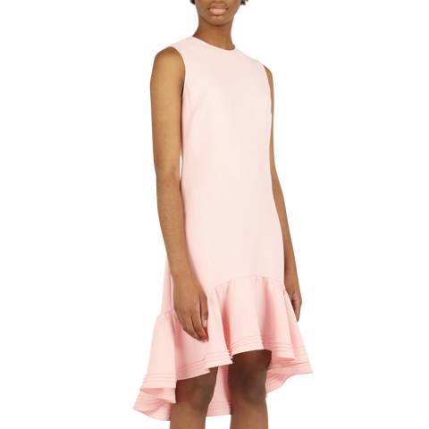 VICTORIA, VICTORIA BECKHAM Pink Pintuck Flounce Hem Shift Dress
