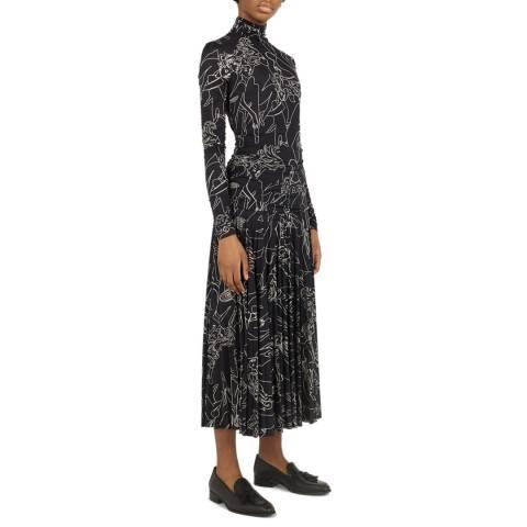VICTORIA, VICTORIA BECKHAM Navy Printed Jersey Dress