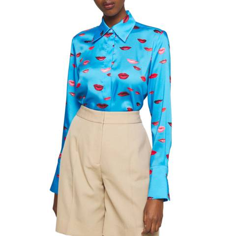 VICTORIA, VICTORIA BECKHAM Blue Twill Lip Printed Shirt