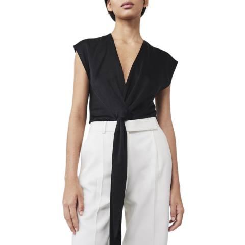 Victoria Beckham Black Tie Drape Tux Top