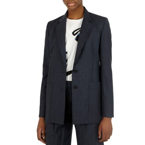 VICTORIA, VICTORIA BECKHAM Blue/White Stripe Pocket Wool Jacket