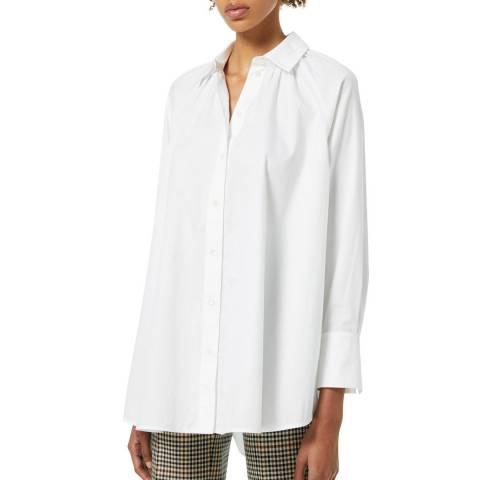 VICTORIA, VICTORIA BECKHAM White Ruched Detail Open Back Organic Cotton Shirt