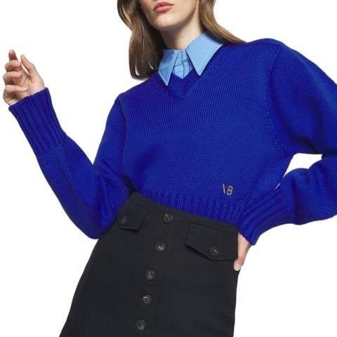 Victoria Beckham Electric Blue Seamless V Neck Wool Jumper