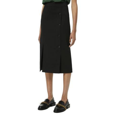 VICTORIA, VICTORIA BECKHAM Black Button Detail Recycled Polyester Midi Skirt