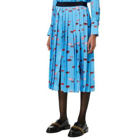 VICTORIA, VICTORIA BECKHAM Cyan Blue Pleated Lip Print Skirt