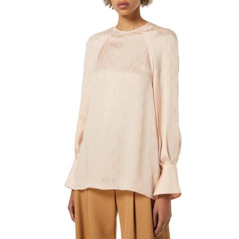 VICTORIA, VICTORIA BECKHAM Soft Pink Raglan Sleeve Silk Blend Jacquard Top