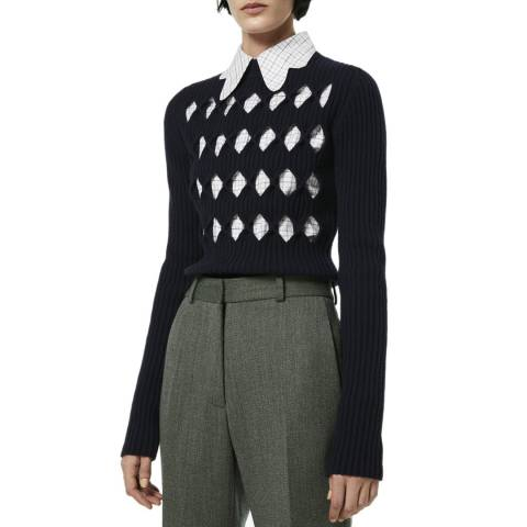 Victoria Beckham Navy Cut Out Wool Jumper