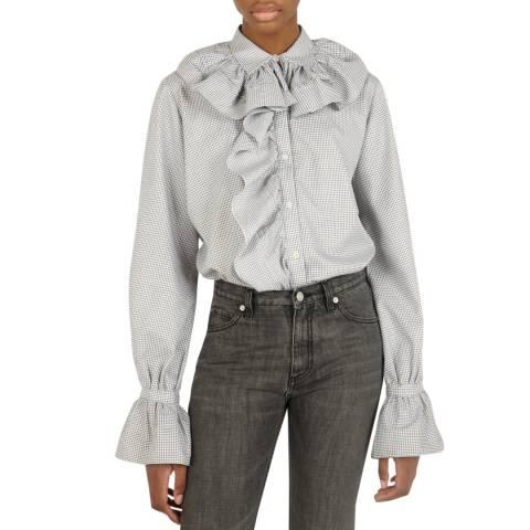 VICTORIA, VICTORIA BECKHAM White/Grey Ruffle Cotton Shirt