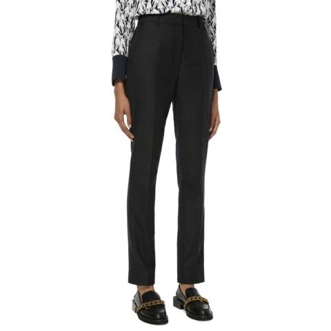 VICTORIA, VICTORIA BECKHAM Grey Skinny Flannel Wool Blend Drainpipe Trousers