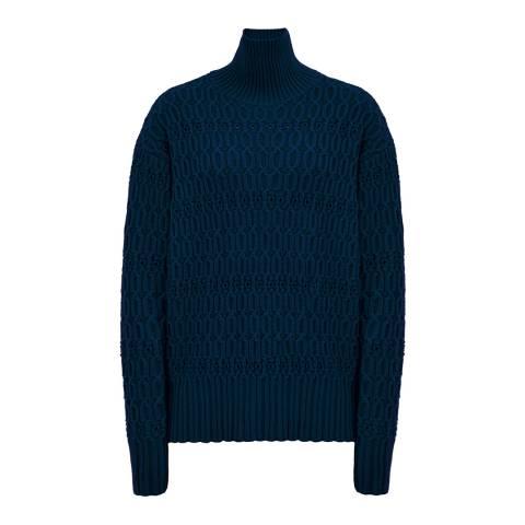 Victoria Beckham Navy Polo Neck Wool Jumper