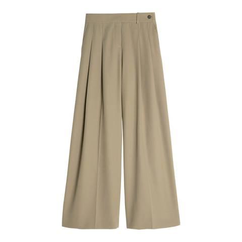 VICTORIA, VICTORIA BECKHAM Clay Wide Leg Wool Blend Gaberdine Trousers