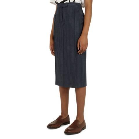 VICTORIA, VICTORIA BECKHAM Blue Stripe Pin Tucked Wool Pencil Skirt