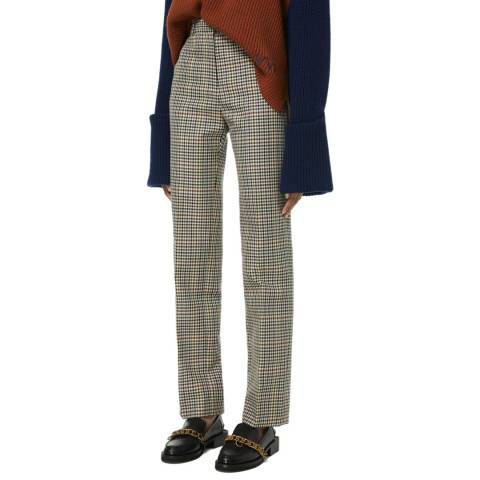 VICTORIA, VICTORIA BECKHAM Cream Check Drainpipe Fit Wool Blend Checked Trousers