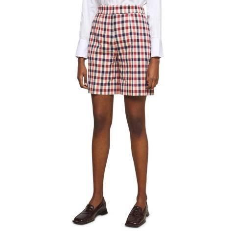 VICTORIA, VICTORIA BECKHAM Multi Checked Tailored Cotton Blend Short
