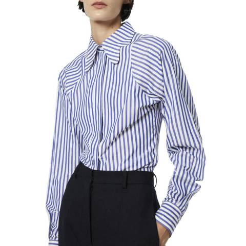 Victoria Beckham Blue Stripe Butterfly Collar Cotton Fitted Shirt
