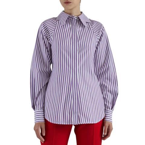 Victoria Beckham Stripe Butterfly Collar Cotton Fitted Shirt