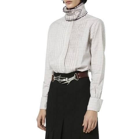 Victoria Beckham Ecru/Purple Ruffle Cotton Shirt