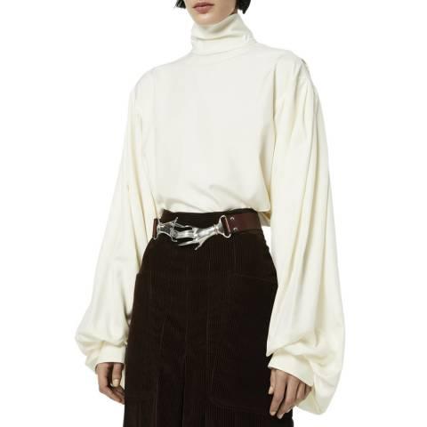 Victoria Beckham Off White Bishop Sleeve Detail Silk Top