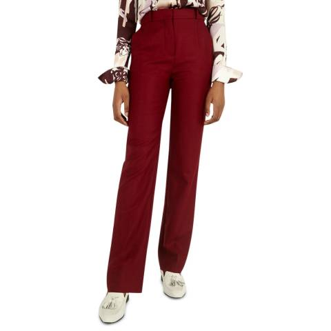 VICTORIA, VICTORIA BECKHAM Mahogany Red Wool Trousers