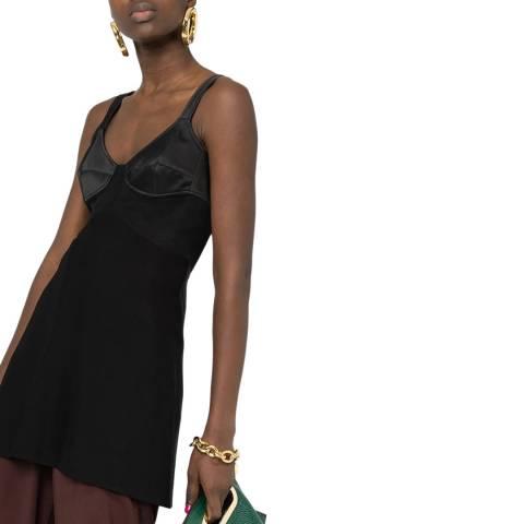 Victoria Beckham Black Sheer Insert Cotton Blend Cami Top