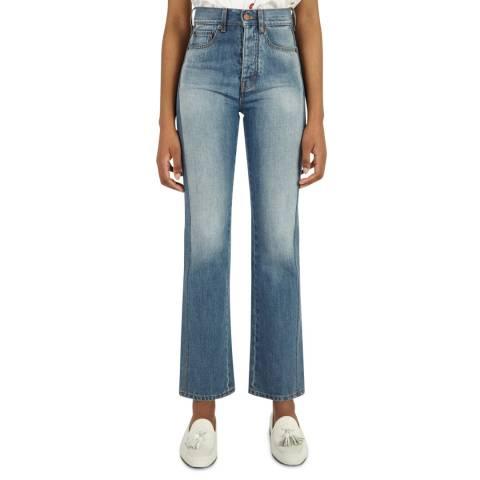VICTORIA, VICTORIA BECKHAM Horizon Blue Midtown Cotton Jeans