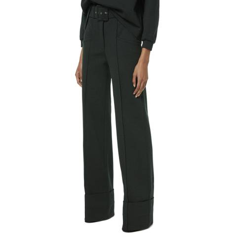 VICTORIA, VICTORIA BECKHAM Ivy Green Belted Jersey Trousers