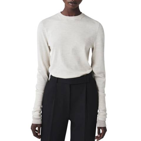 Victoria Beckham Light Grey/Taupe Double Cuff Wool Crew Neck