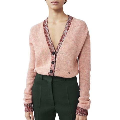 Victoria Beckham Pink Melange Contrast Trim Wool Cardigan