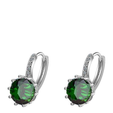 Liv Oliver Silver Plated/Green Drop Embelished Earrings