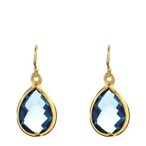 Liv Oliver 18K Gold Plated Blue Quartz Tear Drop Earrings
