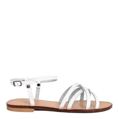 Summery White Leather Cross Strap Sandal