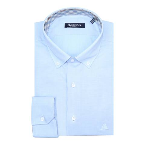 Aquascutum Blue Embroidered Stretch Cotton Slim Fit Shirt
