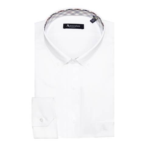 Aquascutum White Slim Fit Button Collar Shirt